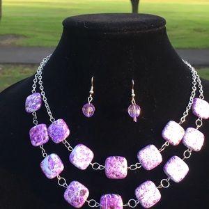 Speckled Purple Necklace & Earrings Set
